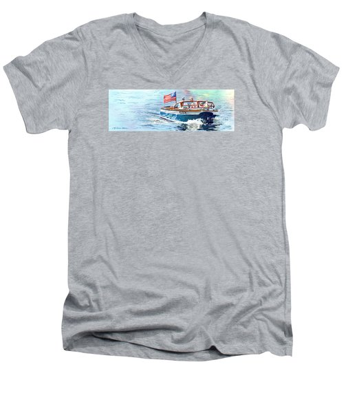 Men's V-Neck T-Shirt featuring the painting Wooden Boat Blues by LeAnne Sowa