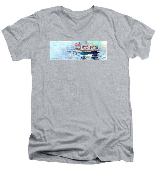 Wooden Boat Blues Men's V-Neck T-Shirt by LeAnne Sowa