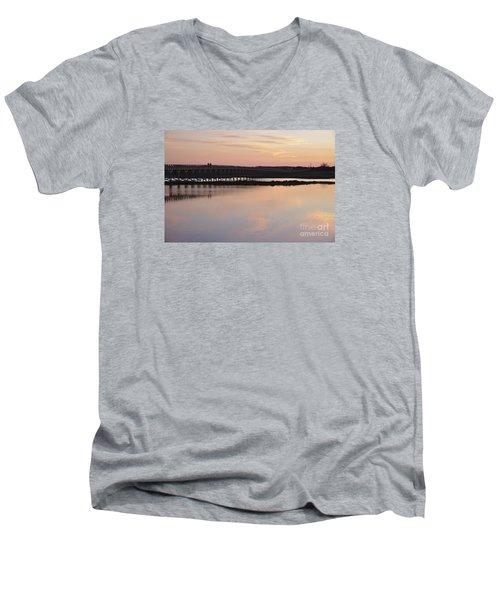 Wooden Bridge And Twilight Men's V-Neck T-Shirt by Angelo DeVal
