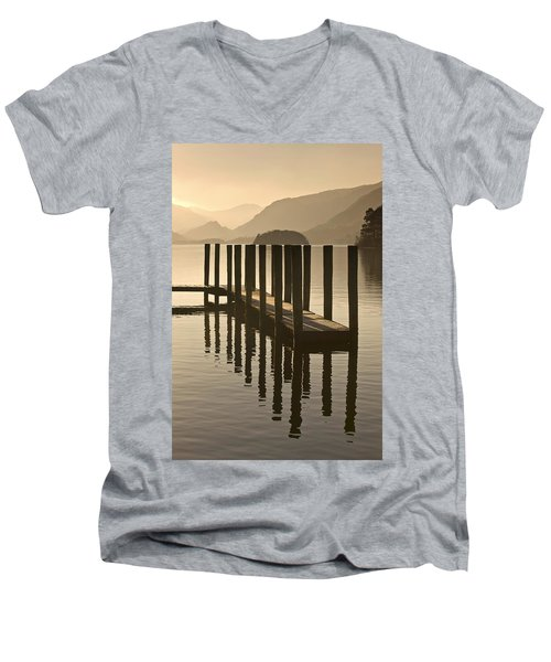 Men's V-Neck T-Shirt featuring the photograph Wooden Dock In The Lake At Sunset by John Short