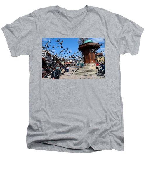Wooden Ottoman Sebilj Water Fountain In Sarajevo Bascarsija Bosnia Men's V-Neck T-Shirt