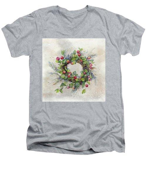 Woodland Berry Wreath Men's V-Neck T-Shirt