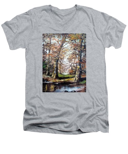 Men's V-Neck T-Shirt featuring the painting Woodland Pond  by Lee Piper