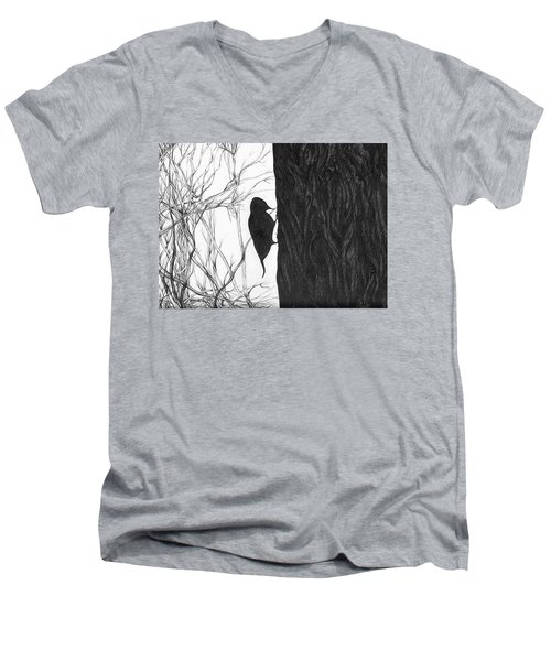 Woodpecker Men's V-Neck T-Shirt by Anna  Duyunova