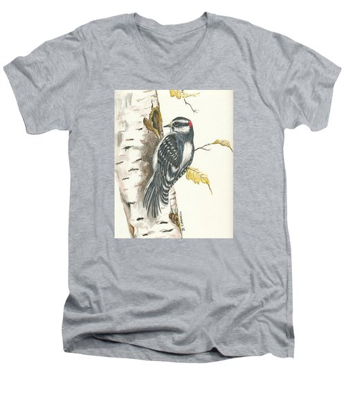 Men's V-Neck T-Shirt featuring the painting Woodpecker by Darren Cannell