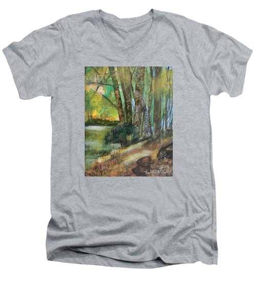 Woods In The Afternoon Men's V-Neck T-Shirt by Robin Maria Pedrero