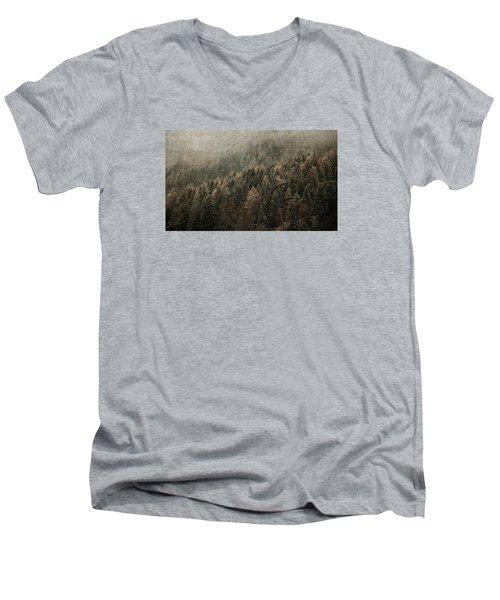 Woods In Winter Men's V-Neck T-Shirt by Vittorio Chiampan