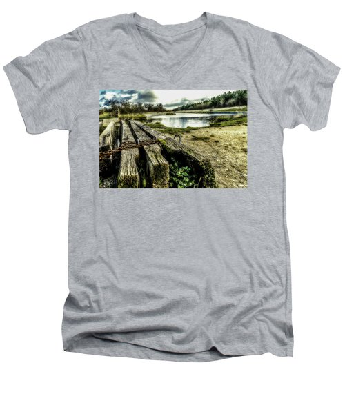Men's V-Neck T-Shirt featuring the photograph Woodside by Nick Bywater