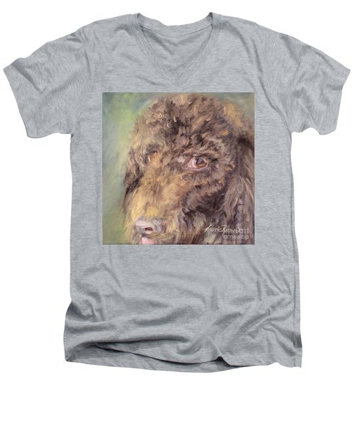 Men's V-Neck T-Shirt featuring the painting Woody by Laurie Rohner