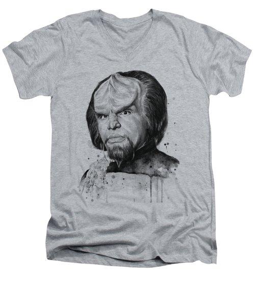 Worf Portrait Watercolor Star Trek Art Men's V-Neck T-Shirt by Olga Shvartsur