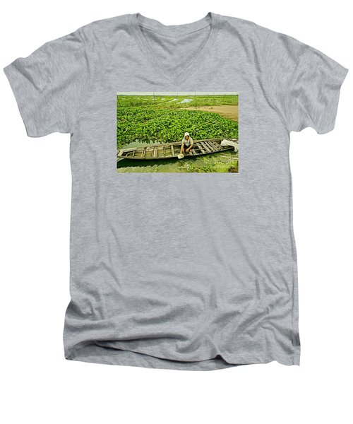 Men's V-Neck T-Shirt featuring the photograph Work Hard With Smile by Arik S Mintorogo