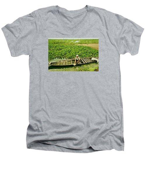 Work Hard With Smile Men's V-Neck T-Shirt