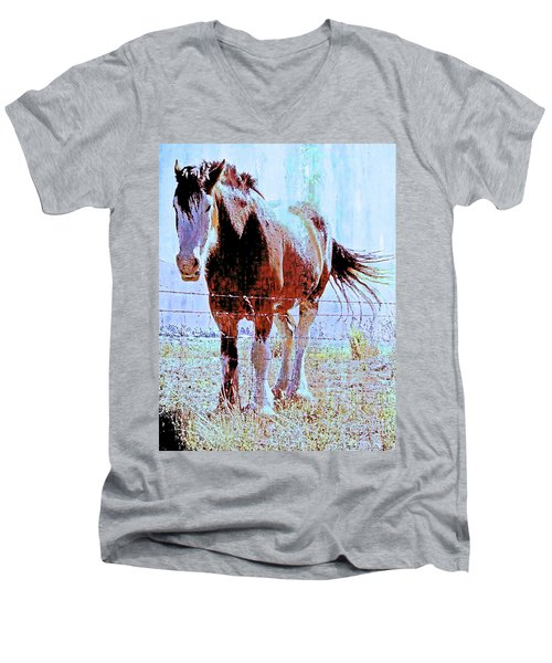 Workhorse Men's V-Neck T-Shirt by Cynthia Powell