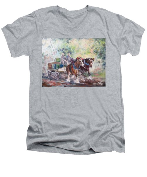 Working Clydesdale Pair, Victoria Breweries. Men's V-Neck T-Shirt