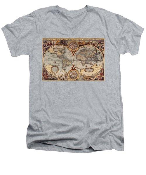 World Map 1636 Men's V-Neck T-Shirt by Photo Researchers