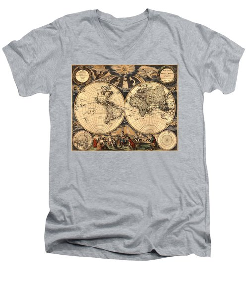 World Map 1666 Men's V-Neck T-Shirt by Andrew Fare