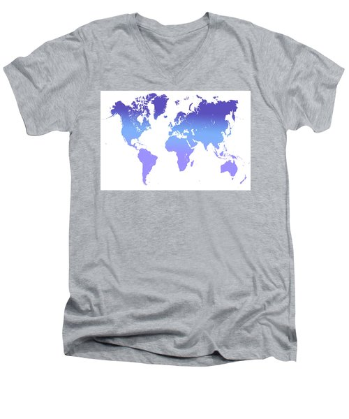 Men's V-Neck T-Shirt featuring the photograph World Map Abstract. Blue Purple by Jenny Rainbow