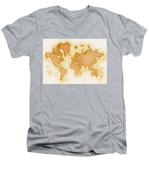 World Map Airy In Brown And White Men's V-Neck T-Shirt by Eleven Corners