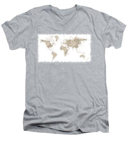 World Map Men's V-Neck T-Shirt by Anton Kalinichev