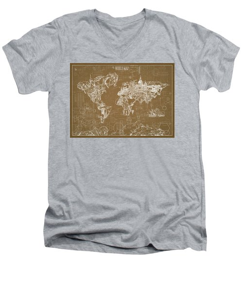 World Map Blueprint 4 Men's V-Neck T-Shirt by Bekim Art