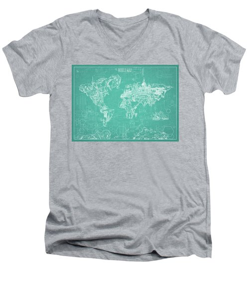World Map Blueprint 7 Men's V-Neck T-Shirt by Bekim Art