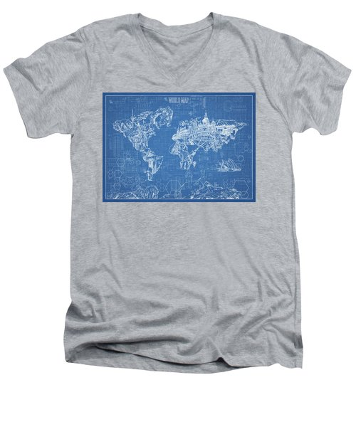 World Map Blueprint Men's V-Neck T-Shirt by Bekim Art