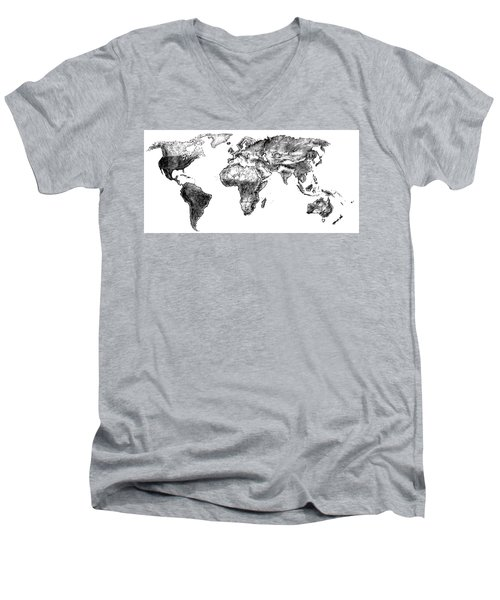 Men's V-Neck T-Shirt featuring the drawing World Map In Graphite by Heidi Kriel