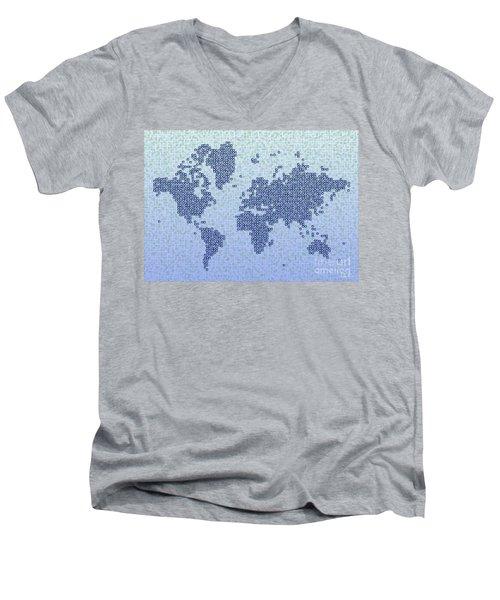 World Map Kotak In Blue Men's V-Neck T-Shirt