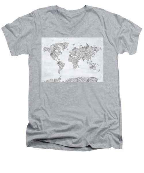 Men's V-Neck T-Shirt featuring the digital art World Map Music 10 by Bekim Art
