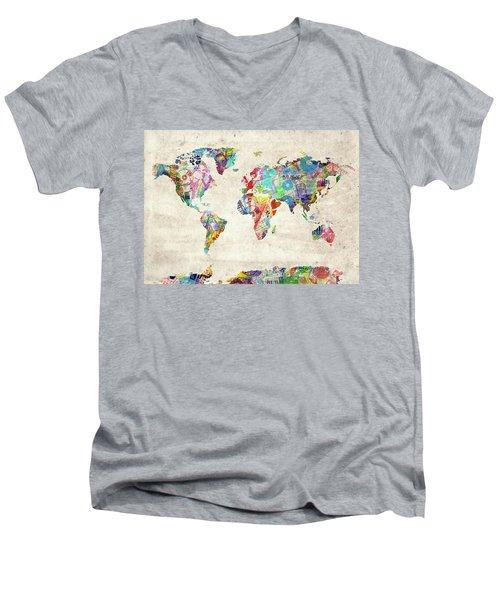 Men's V-Neck T-Shirt featuring the digital art World Map Music 12 by Bekim Art