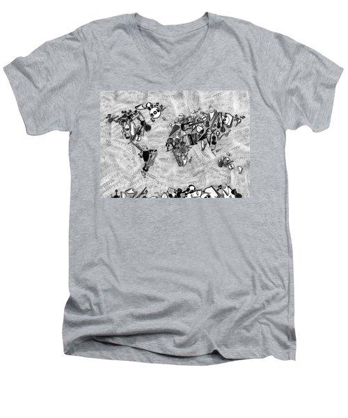 Men's V-Neck T-Shirt featuring the digital art World Map Music 2 by Bekim Art