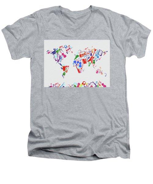 Men's V-Neck T-Shirt featuring the digital art World Map Music 3 by Bekim Art