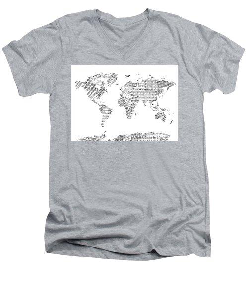 Men's V-Neck T-Shirt featuring the digital art World Map Music 8 by Bekim Art