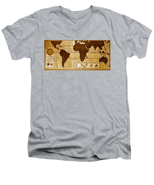 World Map Of Coffee Men's V-Neck T-Shirt