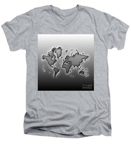 World Map Opala In Black And White Men's V-Neck T-Shirt