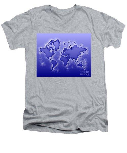 World Map Opala In Blue And White Men's V-Neck T-Shirt