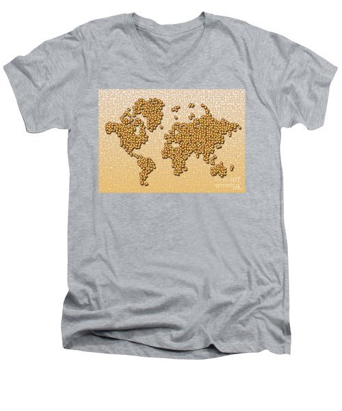 World Map Rolamento In Yellow And Brown Men's V-Neck T-Shirt