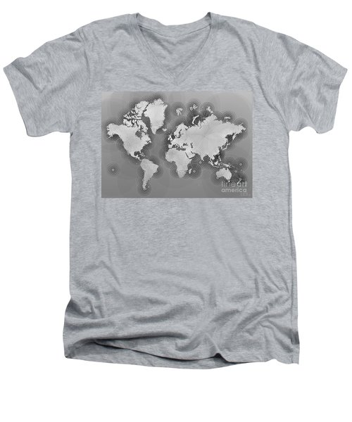 World Map Zona In Black And White Men's V-Neck T-Shirt by Eleven Corners