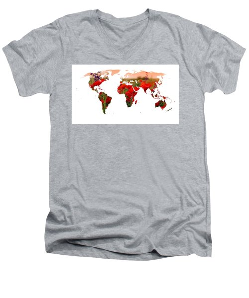 World Of Poppies Men's V-Neck T-Shirt