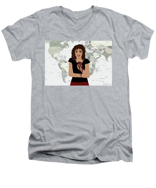 Men's V-Neck T-Shirt featuring the digital art World Pain by Nancy Levan