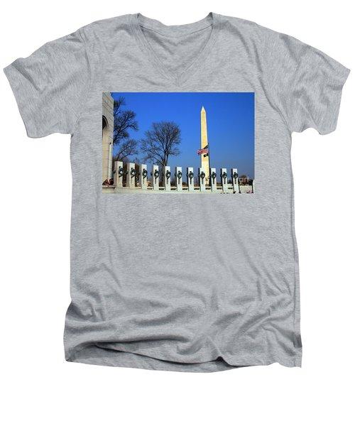 World War II Memorial And Washington Monument Men's V-Neck T-Shirt