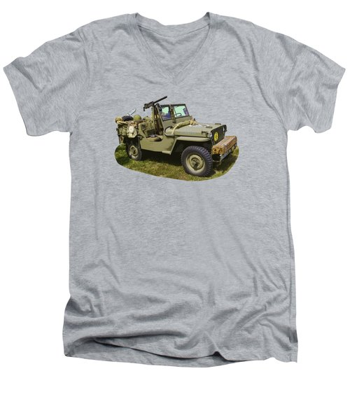 World War Two - Willys - Army Jeep  Men's V-Neck T-Shirt by Keith Webber Jr