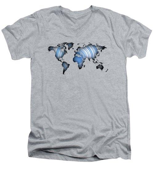 Worldmap Over Blue Circles Men's V-Neck T-Shirt