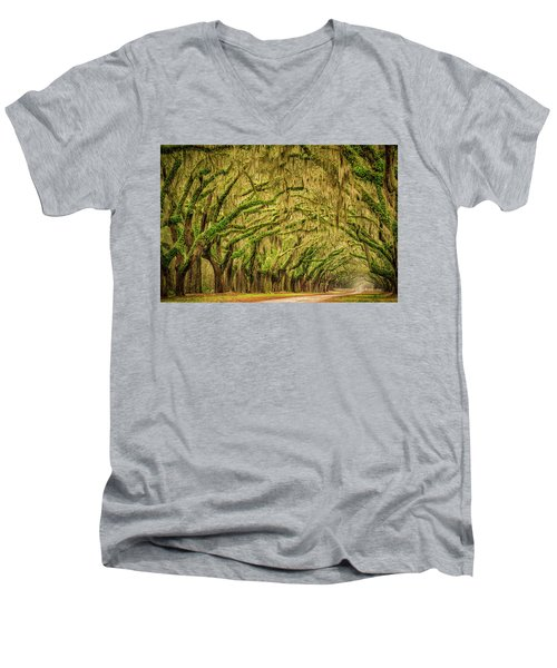 Men's V-Neck T-Shirt featuring the photograph Wormsloe Drive by Phyllis Peterson