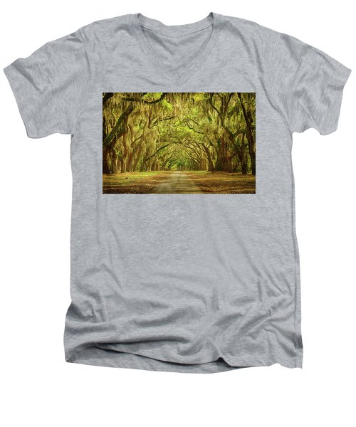 Wormsloe Plantation Oaks Men's V-Neck T-Shirt by Priscilla Burgers