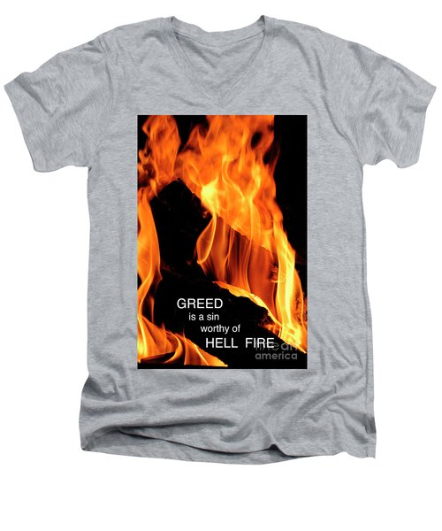 Men's V-Neck T-Shirt featuring the photograph worthy of HELL fire by Paul W Faust - Impressions of Light