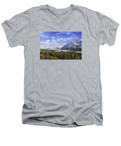 Wrangell Mountains Glacier Alaska Men's V-Neck T-Shirt