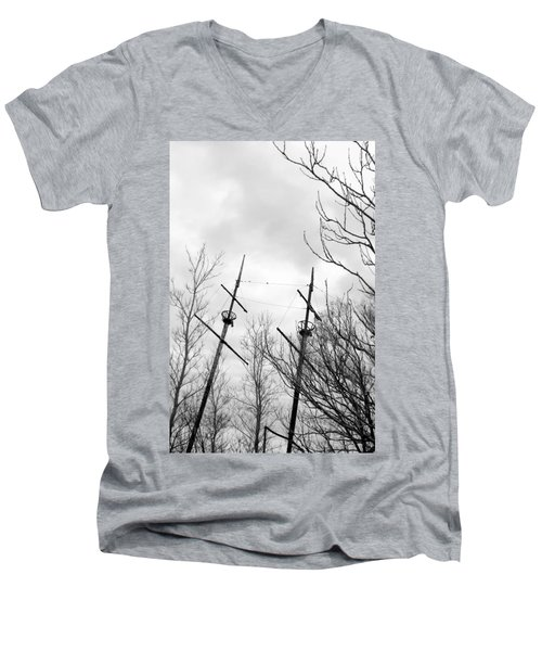 Men's V-Neck T-Shirt featuring the photograph Wrecked by Valentino Visentini