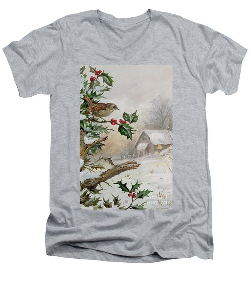 Wren In Hollybush By A Cottage Men's V-Neck T-Shirt by Carl Donner