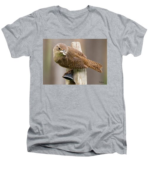 Wren Ringing The Dinner Bell Men's V-Neck T-Shirt